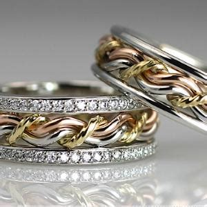 wedding bands with engagement ring braided unique wedding rings handmade by artist todd alan