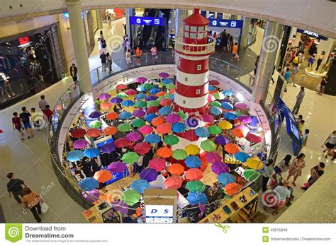 lighthouse and umbrella decoration in terminal 21 shopping