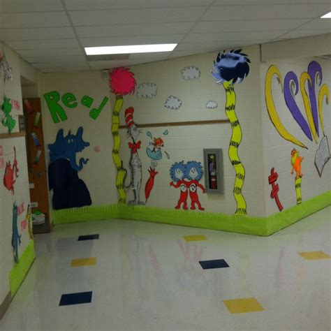 decorating an elementary school for christmas dr seuss decor decorations yellow pinte