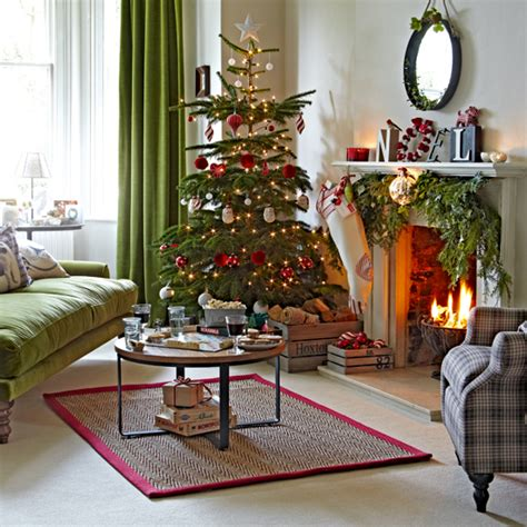 best home decor websites uk classic green and red living room with tree ideal home