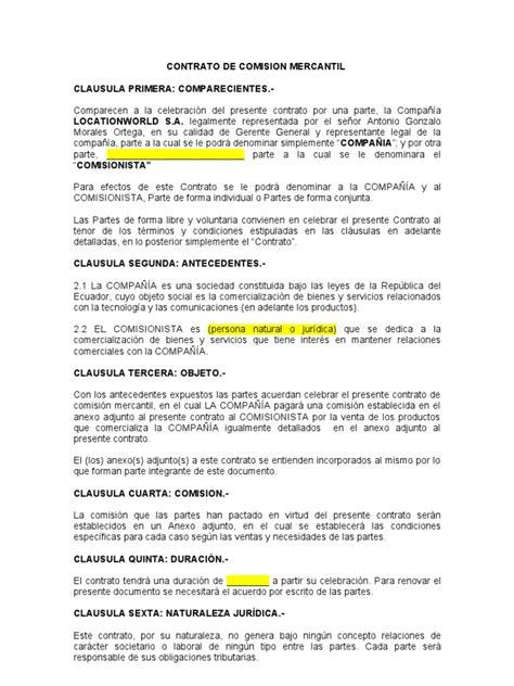 formato modelo o ejemplo de contrato de asimilados a salarios contrato modelo comision mercantil lw 30 3 11