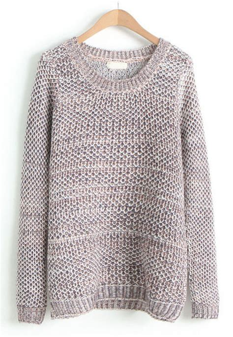 Knitting Pattern Loose Jumper | coffee round neck long sleeve loose knit sweater shein