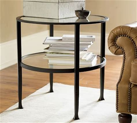 tanner saw bench tanner round side table bronze finish pottery barn