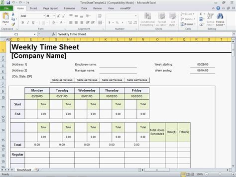 Timesheet Template Excel Doliquid Free Excel Timesheet Template With Formulas
