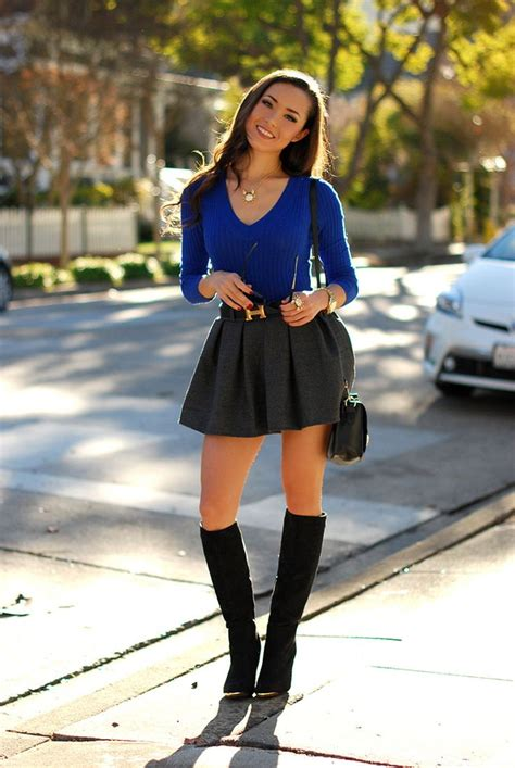 mini skirts in winter season clothing combinations