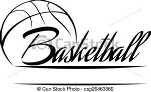 clip art vector of basketball banner   stylized basketball with the word csp29463669   search