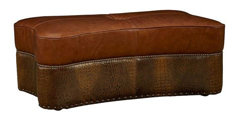 Leather Coffee Ottoman Tobias Quot Ship Quot Two Tone Leather Coffee Table Ottoman Ottomans Benches
