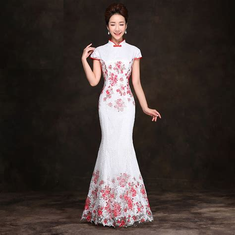 Dress Of The Day Golden Lace Qi Pao by White Lace Fishtail Evening Cheongsam
