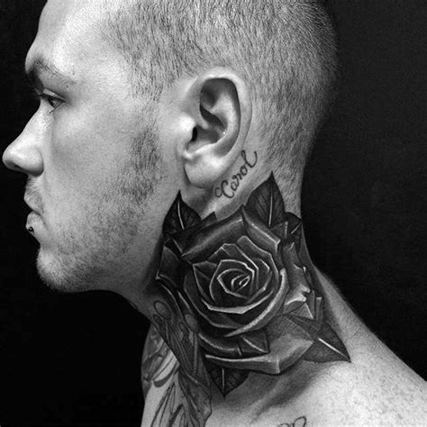 black rose tattoo on neck 80 black designs for ink ideas
