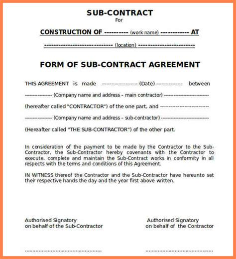 standard subcontract agreement template 9 construction subcontractor agreement template