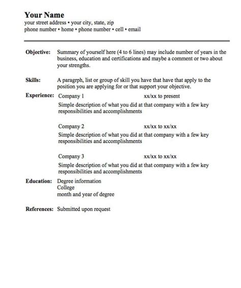 Basic Resume Format by Sle Of Basic Resume Experience Resumes