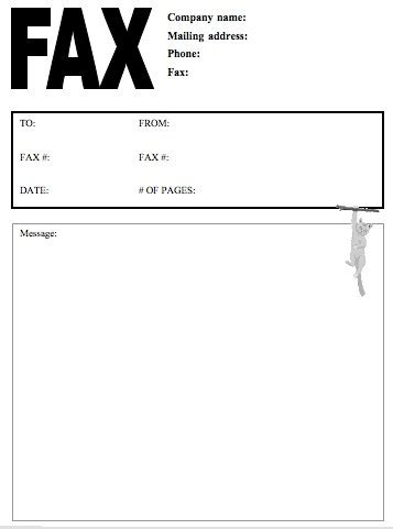 printable business fax cover sheet cat 2 fax cover sheet at freefaxcoversheets net