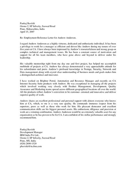 Best Reference Letter From Employer Exle Letter Of Recommendation Employee Cover Letter Templates