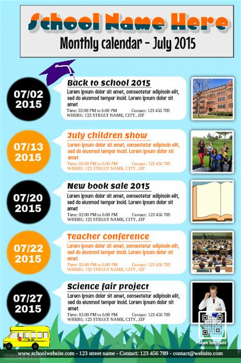 calendar flyer template monthly calendar for school association and organization