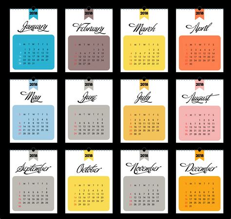 2018 Printable Calendar Template Calendar 2018 Calendar Template 2018 Printable