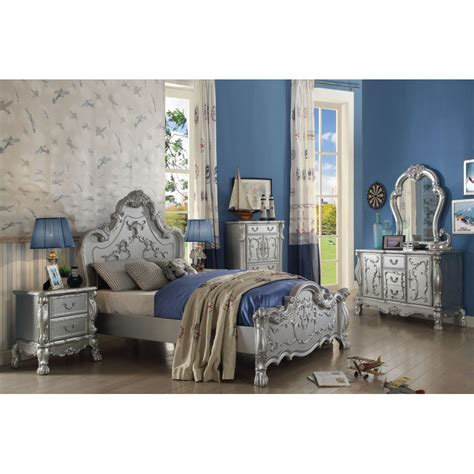 victorian style bedroom sets 30675 silver finish dresden youth bedroom set collection