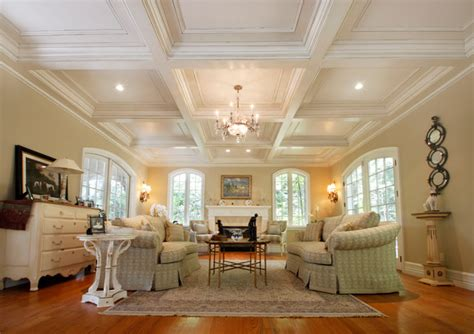 Houzz Kitchens With Islands coffered ceilings traditional living room new york