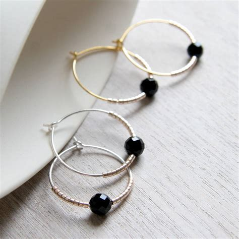 faceted onyx faceted onyx and bead hoops by myhartbeading