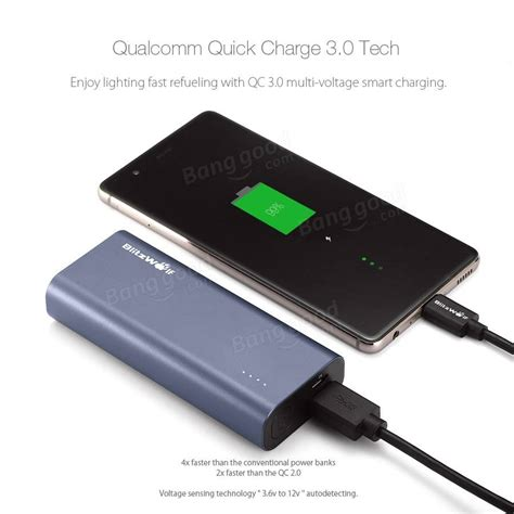 Power Bank Qualcomm Charge 3 0 qualcomm certified blitzwolf 174 bw p4 5200mah charge 3 0 power bank sale banggood
