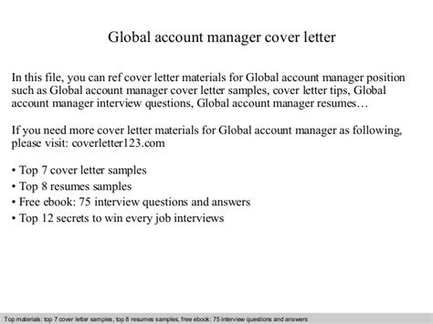Global Account Executive Cover Letter by Global Account Manager Cover Letter
