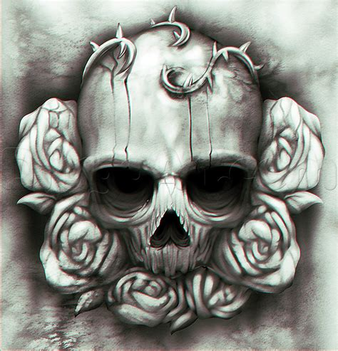 rose skull tattoo how to draw a skull and roses step by step