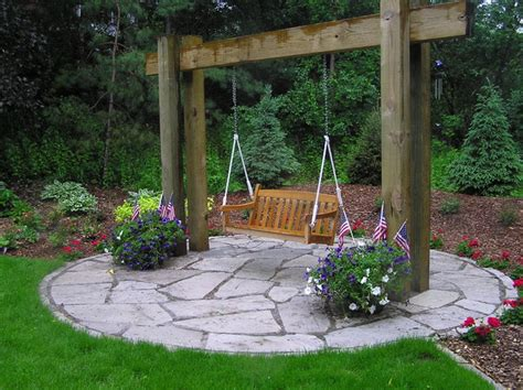 swings for backyard walls steps patios fireplaces traditional