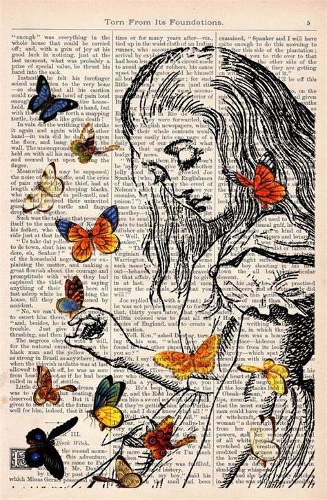 Book Print Alice In Wonderland Playing With Butterflies By Prrint Art Pinterest Butterfly Book Page Print