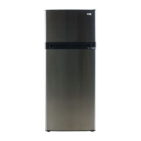 shop haier 10 3 cu ft top freezer refrigerator stainless steel at lowes com