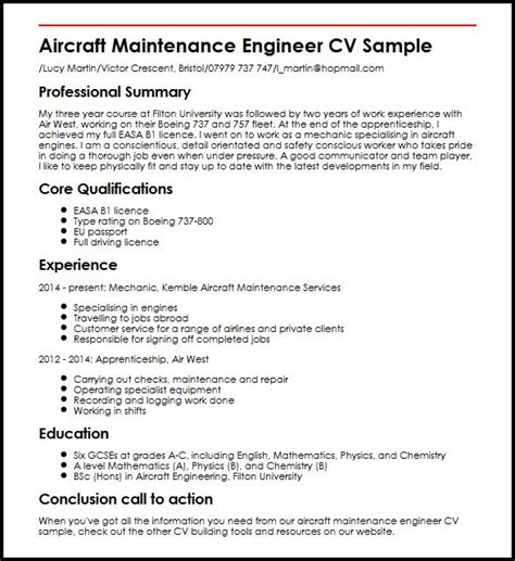 maintenance engineer resume format pdf aircraft maintenance engineer cv sle myperfectcv