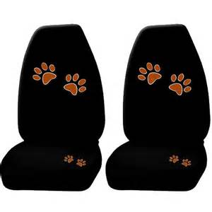 Car Seat Covers Paw Print 2pc Beige Animal Paw Print Front High Back Seat Covers