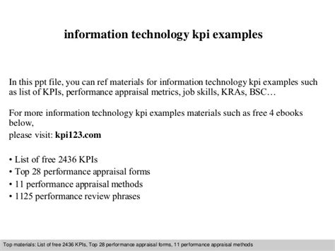 information technology kpi exles