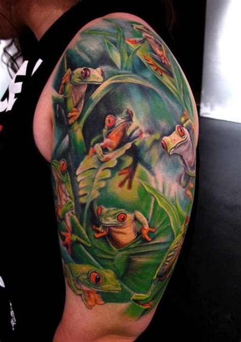 jungle theme tattoos tree frogs arm tattoomagz