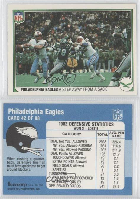 philadelphia eagles cards 1983 fleer nfl 42 philadelphia eagles team
