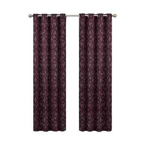 curtains 95 inches length eclipse patricia blackout aubergine grommet curtain panel