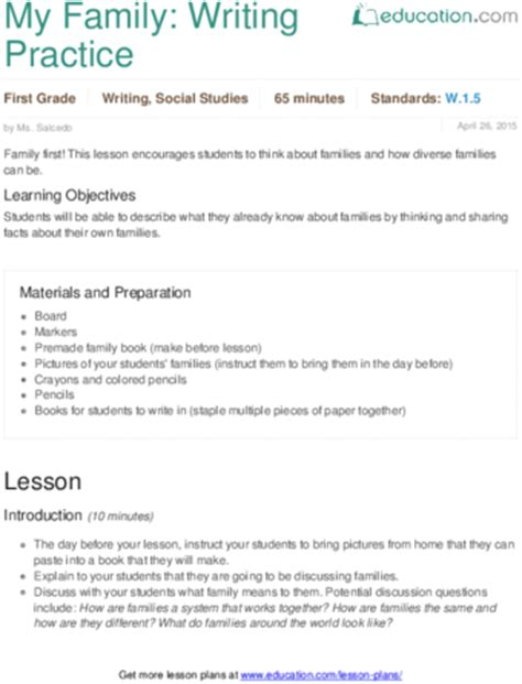my family writing practice lesson plan education com