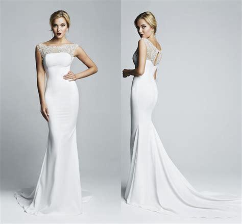 simple elegant 2014 mermaid wedding dresses sheer