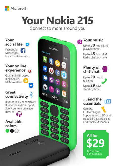 Microsoft Nokia 215 microsoft s nokia 215 comes with one month battery fb