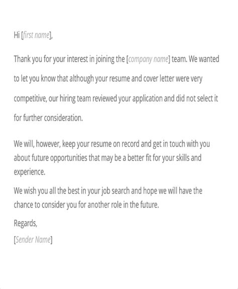 Rejection Letter After Shrm 9 Application Rejection Letters Templates For The