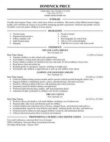 nanny resume templates unforgettable part time nanny resume exles to stand out