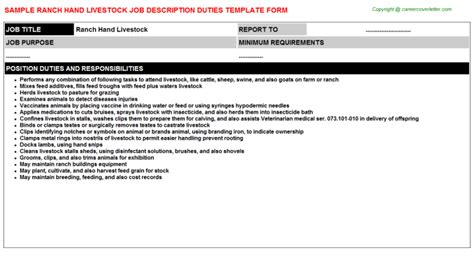 Resume Job Experience Format by Ranch Hand Livestock Job Title Docs
