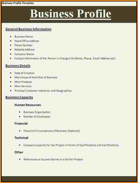 Template Of Business Profile Company Profile Template All Form Templates