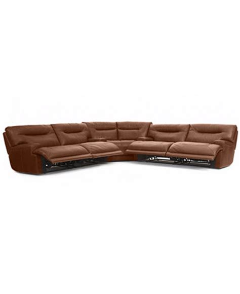 Ricardo Leather Reclining Sofa Ricardo Leather Reclining Sectional Sofa 3 Power Recliner 2 Sofas And Wedge 146 Quot W X 146