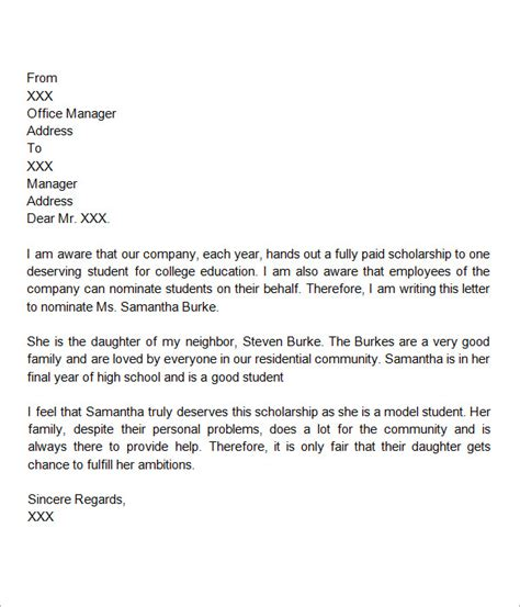 Personal Recommendation Letter For College Scholarship Sle Letter Of Recommendation For Scholarship 29 Exles In Word Pdf