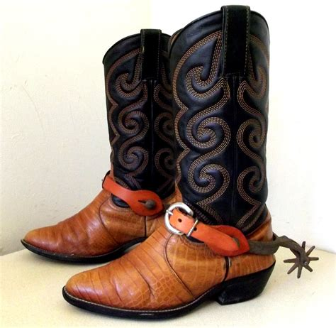 with cowboy boots vintage authentic cowboy boots with real by honeyblossomstudio