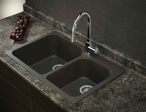 Composite Kitchen Sinks Masculine Black Kitchen Double Basin Dual Mount Drop Or Undermount