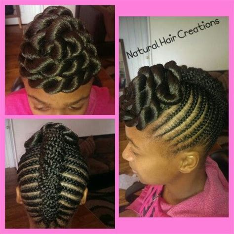 hairstyle with rolls overlaps and braids jumbo twists cornrows braids french roll updo natural hair