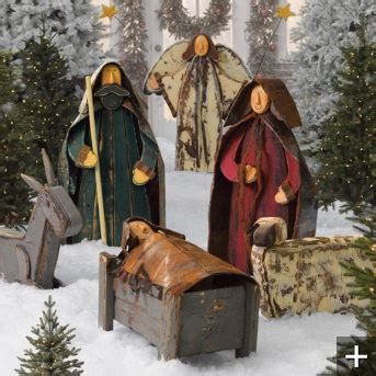 wood and tin nativity christmas pinterest
