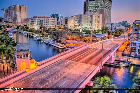 fort lauderdale fort lauderdale city downtown pink bridge riverwalk
