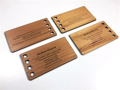 woodwork business wood business card that s laser cut and engraved cool