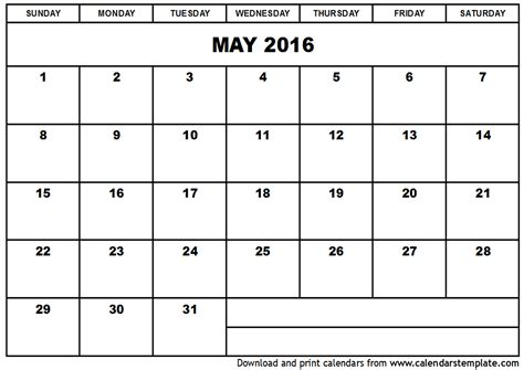 printable planner calendar 2016 may 2016 calendar template
